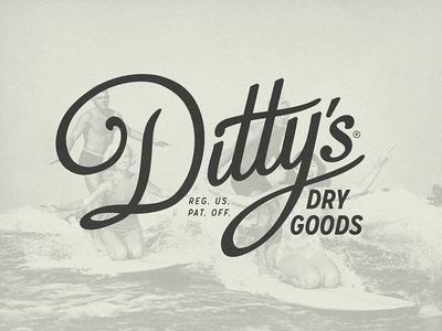 Ditty's Dry Goods beach gear waterproof surfing surfer surf dittys dry goods custom typography logotype branding logo design logo growcase