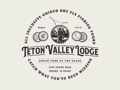 Teton Valley Lodge - Crest Design coin coins teton valley lodge outdoor idahoo dirggs outdoors fly fishing tours flyfishing victorian badge crest growcase