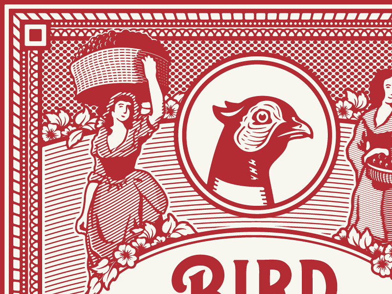 Bird & Bottle Wine Label woodcut victorian americana vintage luxury premium engraving antique art bird  bottle tulsa oklahoma wine label design growcase