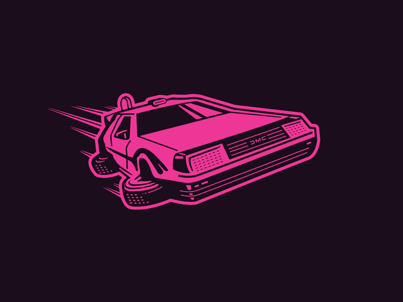 OUTATIME (Back To The Future) car delorean 1980 80s 1980s marty mcfly growcase forefathers group back to the future bttf illustration icon design iconic vionel vionlabs