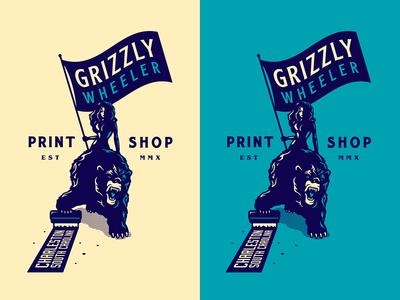 Grizzly Wheeler - Grizzly Bear Rider flag grizzly bear rider charleston south carolina print shop screen printing screenprinting grizzly wheeler forefathers growcase