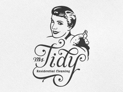 Ms. Tidy Logo growcase logo logotype identity branding logo design vintage retro illustration cleaning cleaning company collaboration script custom script matrix simon ålander face