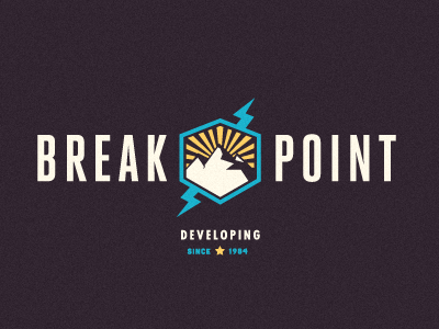 Breakpoint Logo cubano heroic condensed growcase logo logotype identity branding logo design logo designer breakpoint break point development mountain lightning futura mountain top mountain range