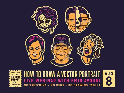 How To Draw A Vector Portrait - Live Webinar - August 8th. masterclass vector graphics drawnig process learn to draw vectors webinar growcase