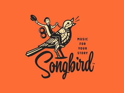 Songbird art deco logomark typography art deco script mechanical bird songbird logo design brand identity branding music forefathers growcase