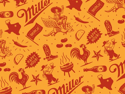 Miller Tavern & Beer Garden Pattern (terminated direction) illustration branding cowboy miller highlife miller high life restaurant bar bbq america arlington texas barbecue brewery beer miller lite miller tavern  beer garden forefathers group growcase