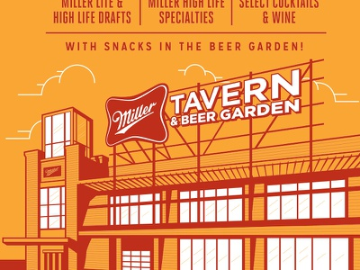 Miller Tavern & Beer Garden Poster (terminated direction) poster happy hour miller highlife miller high life restaurant bar bbq america arlington texas barbecue brewery beer miller lite miller tavern  beer garden forefathers group growcase