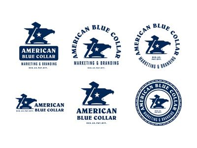 American Blue Collar - Brand Identity System eagle hammer anvil logotype logo design branding growcase brand identity mechanics mechanic work wear workwear electricians electrician carpenters carpenter contractors contractor working class entrepreneurs american blue collar