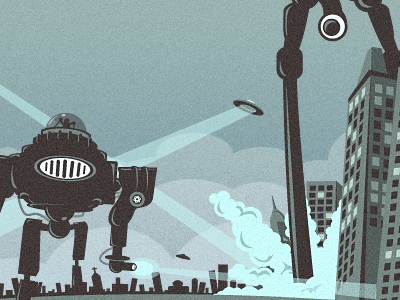 ONST Website Footer Crop (Invasion) growcase web onst onst creative robot invasion ufo spaceship walker bots building buildings chaos space invaders beam lasers pew pew illustration footer city under attack attack mayhem invaders robots