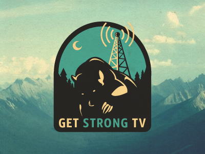 GSTV Logo Proposal growcase logo logotype identity branding logo design logo designer bear canada forest trees broadcast gstv get strong tv moon woods signal tv tower mountain mountain range