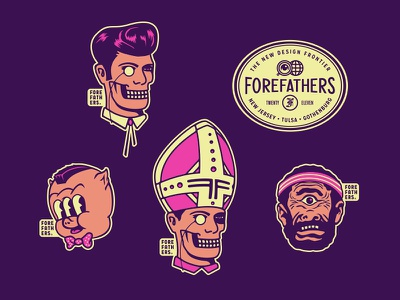 Creative Works Conference - FF Stickers logo branding illustration cartoon bowtie sweatband barbeque bbq sticker pack cyclops porky pig conference memphis tennessee creative works elvis emblem ghost stickers forefathers growcase
