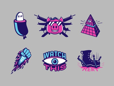 More Intel Icons pyramid boot emoticons emoticon gaming weapon weapons equipped to destroy swine pig eyeball eyes rekt illuminati ripperoni ace watch this iconography icons branding
