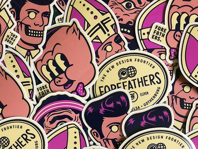 Creative Works Conference - Sticker Spread stickers sticker pack porky pig tennessee memphis logo illustration growcase ghost forefathers emblem elvis cyclops creative works conference cartoon branding bowtie bbq barbecue