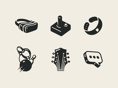 Cineplex/Playdium Icons growcase iconography canada iconic playdium cinema cineplex wristband gaming video games joystick text message chat music guitar bowling virtual reality vr goggles icon set icons