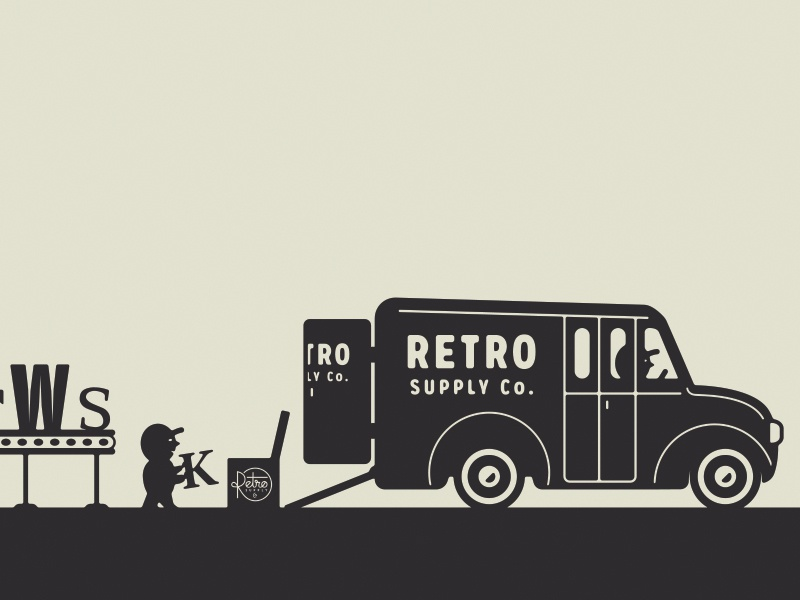 Retro Supply Co. - Footer Mural 3/3 factory designer resources workshop halftones custom fonts loading truck illustration website workers mural footer retro supply co