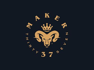 Maker 37 emblem forefathers group sundry woodcraft adze maker 37 logotype animal crown rams head ram logomark brand identity branding logo design logo growcase