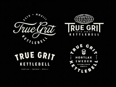 True Grit Kettlebell - Merch emblem badge branding logotype logo script fitness true grit kettlebell merchandise merch sweden nutrition gym sports sport typography growcase
