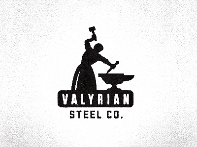 Valyrian Steel Co. growcase logo logotype logo design logo designer identity blacksmith blacksmithing valyrian steel valyria valyrian steel co hammer anvil game of thrones george rr martin a song of ice and fire