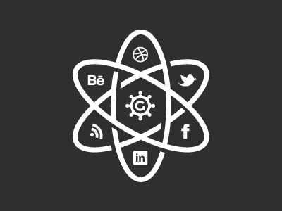 The Social Atom 2012 growcase twitter behance dribbble rss linked in facebook icon icons social atom the social atom social media social links logo