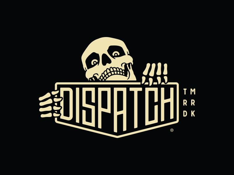 Dispatch Skellie Plaque skeleton skull brand identity branding bicycle grid dispatch cycling components custom lettering logotype emblem plaque bicycles cycling logodesigner logodesign logo forefathers growcase