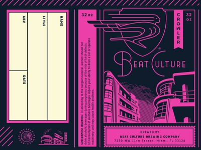 Beat Culture Brewing Co. - Crowler Design can crowler recycling reduce reuse recycle miami florida icon growcase globe craft beer brewery brew beatnik beat culture brewing company