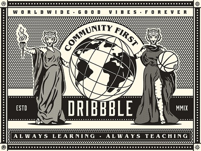Dribbble Equipment Shop - World Wide Good Vibes Poster good vibes worldwide forever victorian era poster mutant lioness halftones halftone growcase globe feeble dribbble equipment shop community