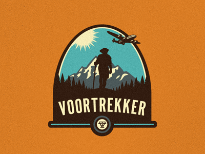 Unused Voortrekker Logo/Emblem shield growcase logo logotype logo design logo designer identity travel plane pioneer voortrekker vt deming for sale emblem patch hiking mountain range airplane hiker travel agency