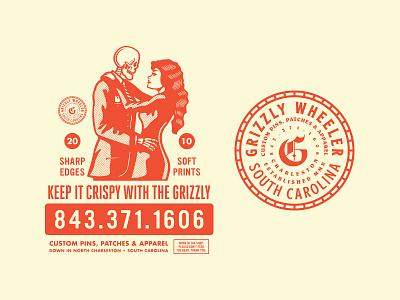 Keep it Crispy with the Grizzly south carolina screen printing screenprint charleston slow dancing emblem badge grizzly wheeler print shop growcase