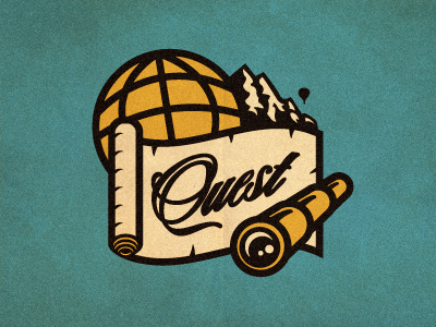 Quest Logo Concept growcase logo logotype logo design logo designer identity quest app mobile app spyglass spy glass mountain range mountain globe map adventure script type travel hot air balloon