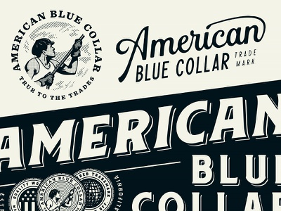 American Blue Collar - Brand Assets 3/3 merchandise merch workwear working class mechanics mechanic logotype logo design hammer growcase entrepreneurs electricians electrician contractors contractor carpenters carpenter branding brand identity american blue collar