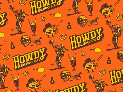Howdy Burger Pattern mascot pattern responsive branding brand identity tulsa oklahoma western burgers hamburgers hamburger howdy burger cowboy custom typography type logotype logo design forefathers growcase