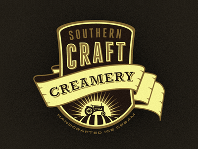 Southern Craft Creamery branding concept (Chosen - Still WIP) growcase logo logo design logo designer identity branding handcrafting ice cream dairy southern emblem patch tractor field farming craft creamery southern craft creamery