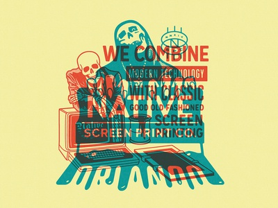 Native Screen Print Co. - Homage Pieces Overprint squeegee ghouls ghoul creepshow skull megadeth skulls screenprint screenprinting screen printing tim styles orlando florida native screen print co