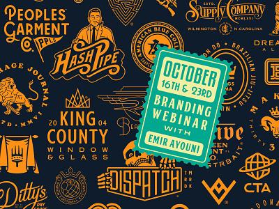 BRANDING WEBINAR - OCTOBER 16 & 23 retro supply co masterclass brand identity tutorial logo design branding webinar growcase