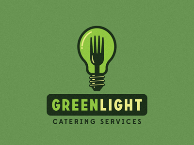 Greenlight Catering Services Logo Proposal - First Draft growcase logo logo design logo designer logotype catering light bulb catering services green light greenlight jeff green florida south florida 50s retro food identity edmondsans