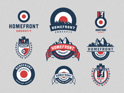 Homefront Crossfit - Logo Mark & Emblem Options shield homefront growcase logo logo design logo designer branding mark logo mark emblem emblems vintage retro home front cross fit eagle mountains mountain range treeline trees forrest gym workout australia orange new south wales nsw lost type brothers badge
