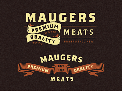 Maugers Meats - Logo Explorations logo logo design logo designer branding maugers maugers meat burrawang new south wales butcher butchery catering premium quality meat meats meat australia southern highland type typography
