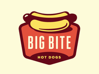 Big Bite Hot Dogs Logo - Revised Final growcase logo logo design logo designer identity branding meat fast food shape cart container hot dog hot dog cart hot dog stand hot dogs sausage wiener