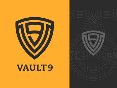 Logo proposal for Vault 9 growcase logo logo design logo designer identity branding cloud hosting hosting vault 9 construct vault shield vector construct v9 process lock up lockup