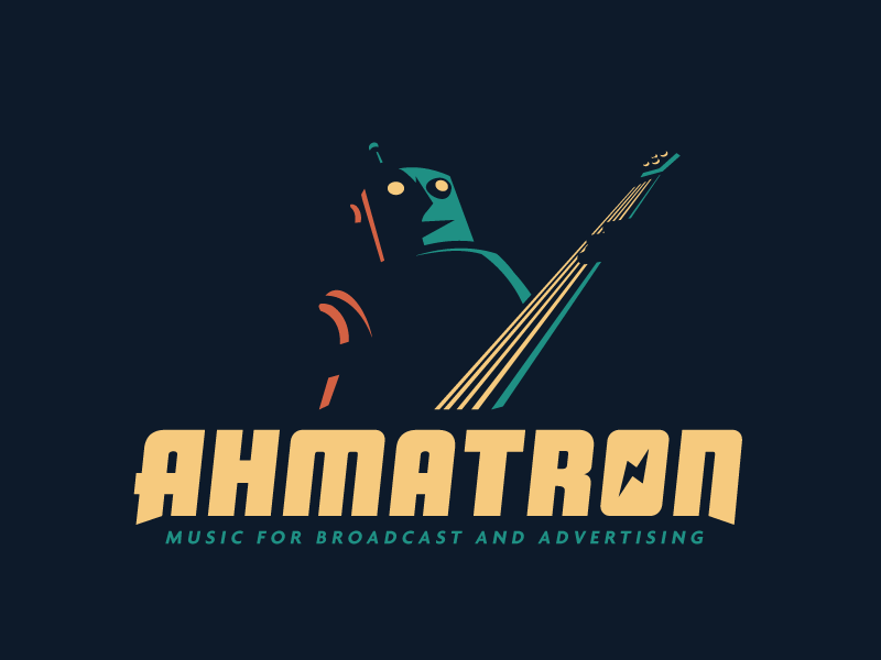 Ahmatron Logo negative space lighting growcase logo identity logotype branding ahmatron bass jam jamming robot bot robots rocker rock n roll music composer musician martin ahm nielsen denmark advertising broadcast tunes jingles jingle music bolt