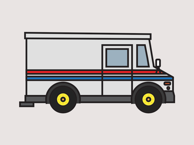 Mail Truck illustration driving mail truck delivery truck usps kids art