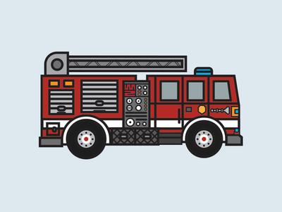 Fire Truck illustration driving fire truck firefighters kids art