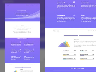 Acorns - Investments iphone responsive website web design acorns ios investments purple charts