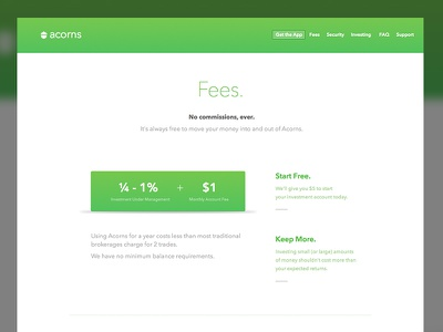 Acorns - Fees pricing pricing page green investing acorns acorns.com web design website responsive