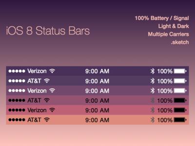 iOS 8 Status Bars Freebie Sketch File freebie ios8 status bars iphone template sketch file sketch