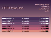 iOS 8 Status Bars Freebie Sketch File freebie ios8 status bars iphone template sketch file sketch
