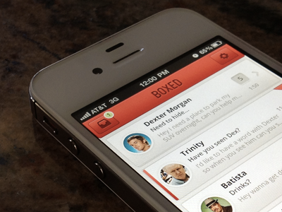 Boxed - Updated boxed ios iphone app design clean red email
