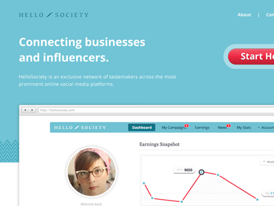 Hello Society Landing Page landing page website web design teal dashboard analytics