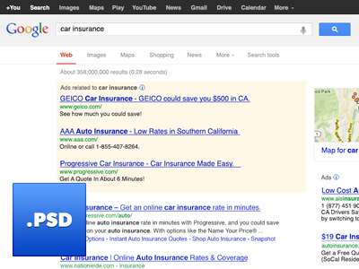 Google Search Engine Results Page PSD google serp search ui free psd freebie psd user interface bing search engine
