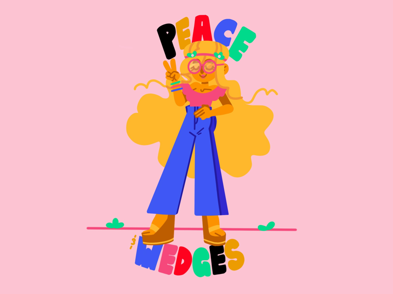Peace and Wedges character flat illustration